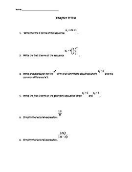 Test on Sequences, Series, and basics of Probability