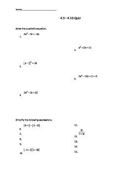 Test on Solving Quadratics, Complex Numbers, and Quadratic Inequalities.