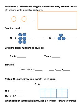 Test on relating subtraction to addition/related facts