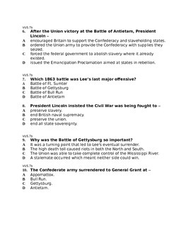 Test on the Civil War and Reconstruction
