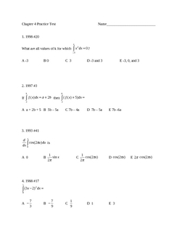 Test or Practice Test for integrals
