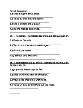Test or Quiz on the Partitif & the pronoun En