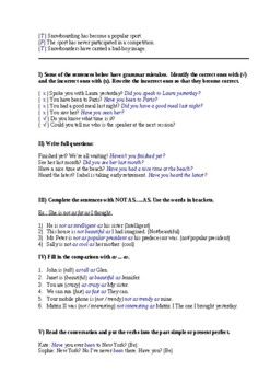 Test or Review - Text; Present Perfect; Comparison