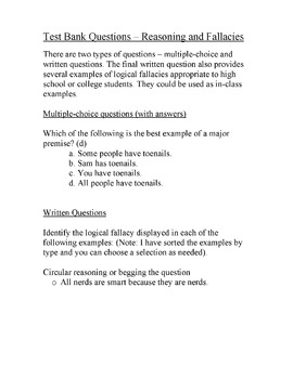 Test questions/examples for reasoning and fallacies