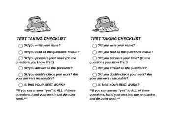 Test taking checklist
