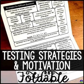 Testing Strategies and Motivation Test Prep Folding Notebook Sheet