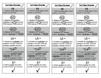 Test taking strategy bookmarks for reading