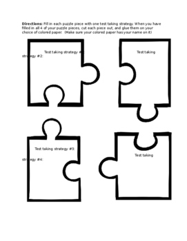 Test taking strategy puzzle activity