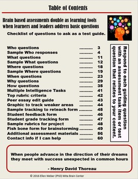 Test with  Brain Based Tasks - Guide and Templates (Gr 7 - 12+)