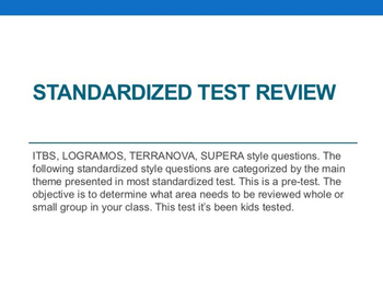 Test with questions for first grade ITBS Terranova or simi