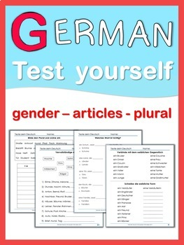 German Test Yourself  gender, articles, plural
