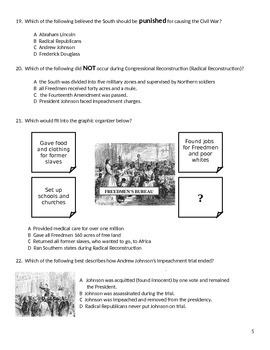 Test/Exam:  US History II:  Reconstruction Unit