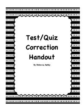 Test/Quiz Corrections Handout