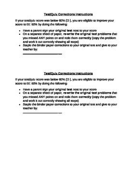 Test/Quiz Corrections Instructions