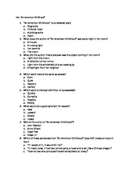 "Test/Quiz for Except from ""An American Childhood"""