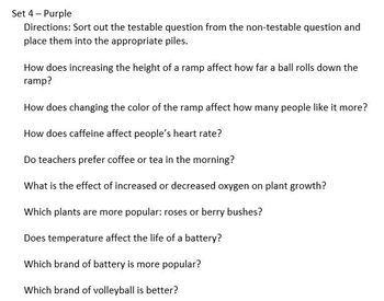 Testable Questions Sort