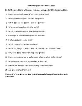 Testable Question Worksheet | Teachers Pay Teachers