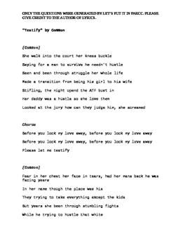 Testify by Common- Questions, Tone, Grammar, Inference, Dialect