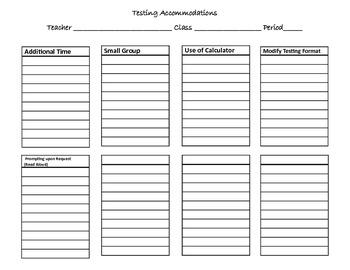 Testing Accommodation Sheet