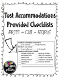 Testing Accommodations Provided Checklist