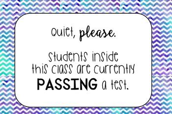 Testing- Classroom Sign