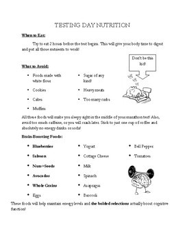 Testing Day Nutrition Tips and Menu