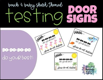 Testing Door Signs - Beach & Baby Shark Theme