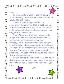 Testing Encouragement Letter and Treat Labels