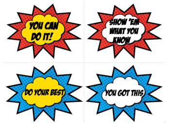 Testing Encouragement Super Hero themed (Editable)
