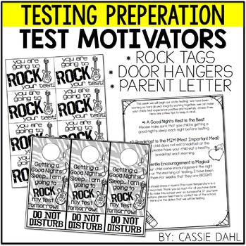 Testing Motivation Tags, Door Hanger and Parent Note