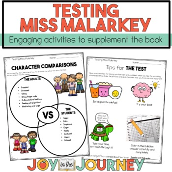 Testing Miss Malarky Book Activities