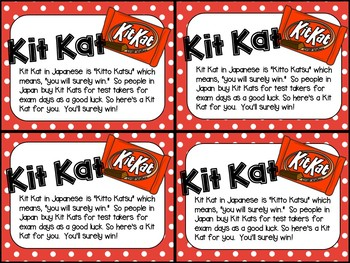 Testing Motivation and Encouragement Notes/ Treat Tags (KitKat, M&Ms, and more!)