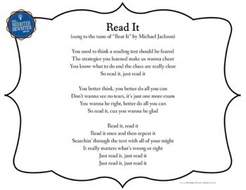 Test Pep and Prep Reading Song Lyrics PPT