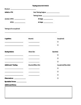 Special Education Tests Planning form
