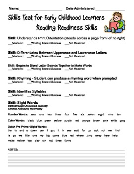 Testing Sheets and Testing Cards for Early Childhood Learners