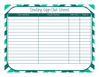 Testing Sign Out Sheet