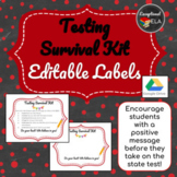 Flash Freebie! Testing Survival Kit Editable Labels