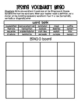 Testing Vocabulary Bingo