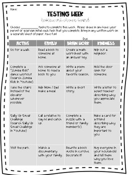 Testing Week Homework Choice Board