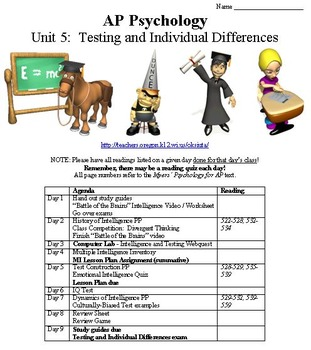Testing and Individual Differences Complete Unit for Psychology