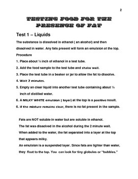 Testing food for fat