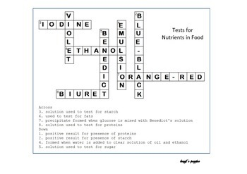 Testing for nutrients crossword puzzle for grade 8 students