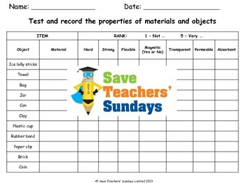 Testing properties of materials Lesson plan and Worksheet