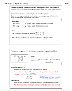 Testing the Difference Between Means (Lesson with Homework)