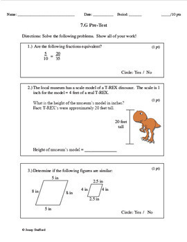 7th Grade Math Tests CCSS (7.NS, 7.RP, 7.EE, 7.G, 7.SP) EDITABLE