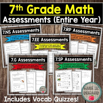 7th Grade Math Tests CCSS (7.NS, 7.RP, 7.EE, 7.G, 7.SP) DISTANCE LEARNING
