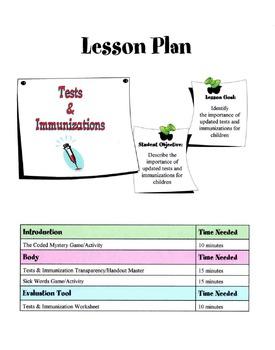 Tests & Immunizations Lesson