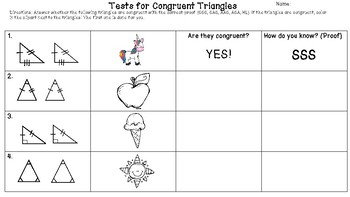 Tests for Congruent Triangles Coloring Activity! SSS, SAS, ASA