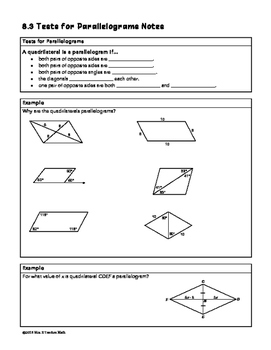 Tests for Parallelograms Lesson