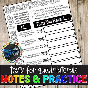 Tests for Quadrilaterals on Coordinate Plane Doodle Guide & Practice Worksheet